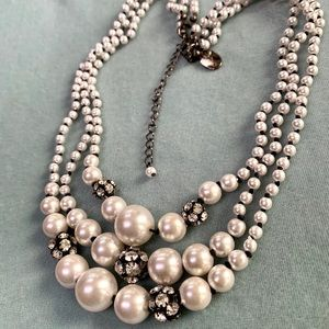 WHBM 3 Strand Faux Pearls/Rhinestones Necklace